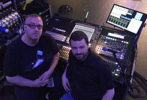Chris 'Cookie' Hoff (left) with Mikey Beck and the DiGiCo SD10