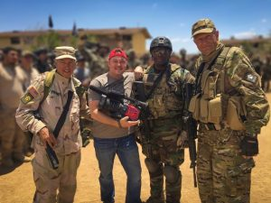 """Caption: Left to right, US Army Ranger (ret) Col. Danny McKnight (portrayed by Tom Sizemore in the movie Black Hawk Down), DP Dave Craig, US Army Ranger (ret) Msg. Howard """"Mad Max"""" Mullen, Former Soviet ABN Brigade Sgt. Igor Dobroff (fought Charlie Wilson's War)."""