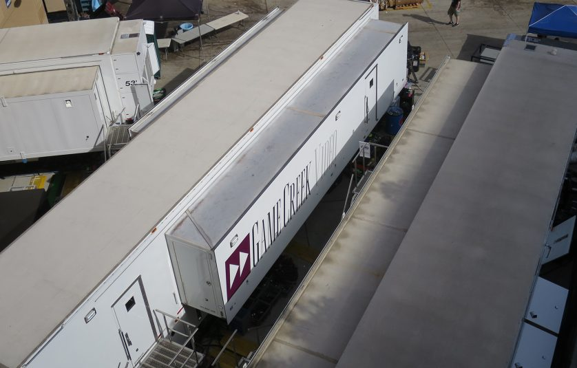Fox's compound comprises just three trucks — Game Creek's FX A and B and Edit B — because the Pregame show and game tlecast will be produced out of the same truck.