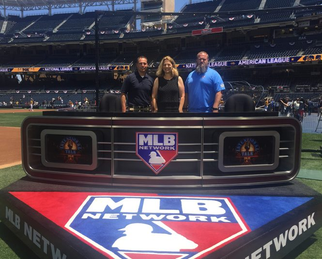 MLB Network's (from left) Tom Guidice, Susan Stone, and Jason Hedgcock at the primary on-field set