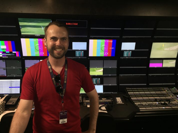 Mobile TV Group's Dale Canino inside the company's 39 Flex 4K/HDR truck, which is hosting this weekend's 4K production.