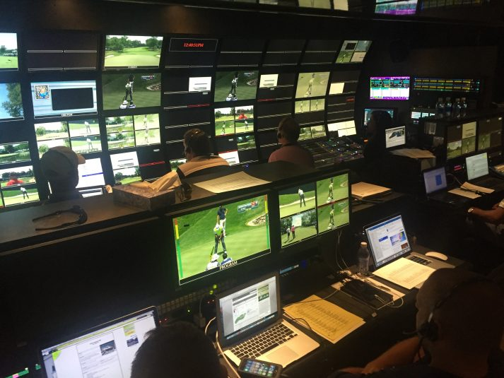 Inside Mobile TV Group's 39 Flex during live production on Thursday afternoon