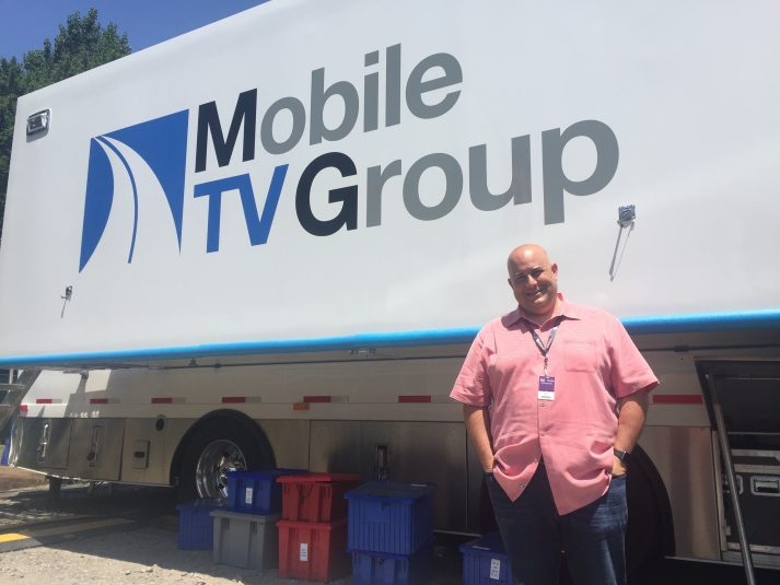 AT&T Entertainment Group's John Ward outside Mobile TV Group's 39 Flex, host to the 4K and HDR productions at Baltusrol Golf Club