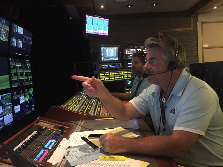 CBS Sports director Steve Milton practices calling cameras before Thursday's action. Milton has served as lead director on the PGA Championship for CBS since 1997.