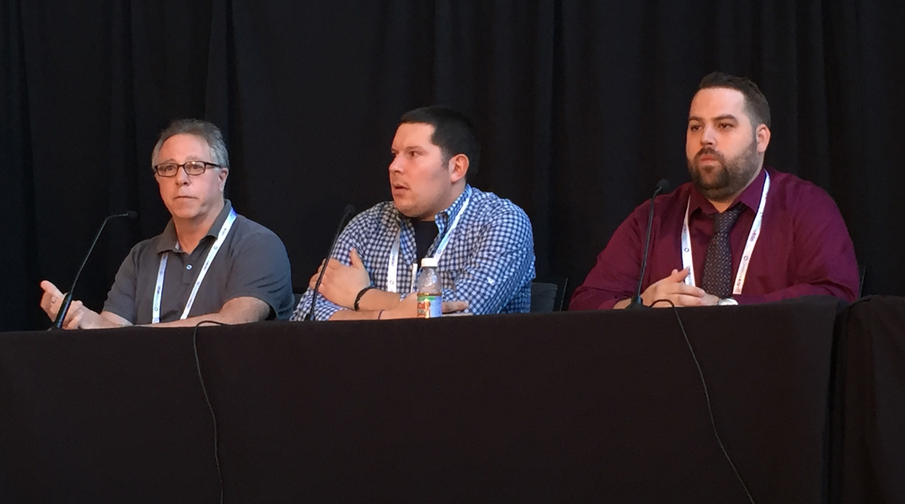 Madison Square Garden's Marc Bauman, the Philadelphia Union's Carl Mandell, and the Philadelphia Phillies' Sean Rainey participate in a panel on production strategies for entertaining fans in-venue.