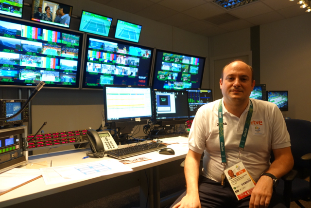 Victor Sánchez Garcia in RTVE's master control facility which serves out Olympic coverage to viewers in Spain.