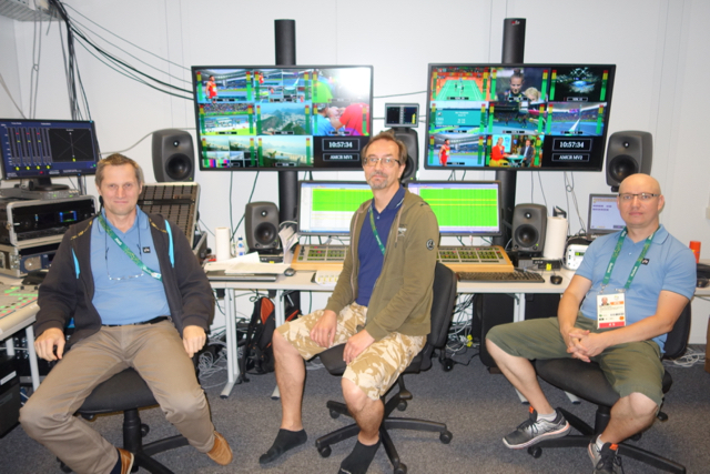 (l-to-r) Kaj Flood, Samuli Ljikanen, and Arttu Horttanainen of YLE Finland in the channel's IBC production control area.