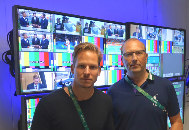 Joakim Ekstrand, Viasat Sweden, Olympics, production manager (left) and Mikael Krantz, NEP Sweden, technical producer, makes sure Sweden Olympic fans see their favorite athletes compete.