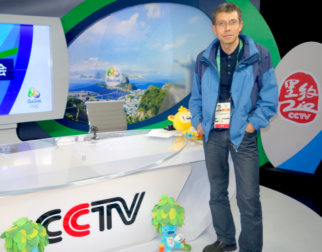 Junhong Xue, CCTV Olympic head of technical operations, inside CCTV's studio.