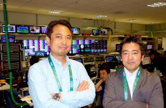 (l-to-r) Yujin Suzuki, technical director from NTV and Yuichi Ichiko, producer from NHK Sports in the Japan Consortium broadcast operations center at the Rio Olympics IBC.