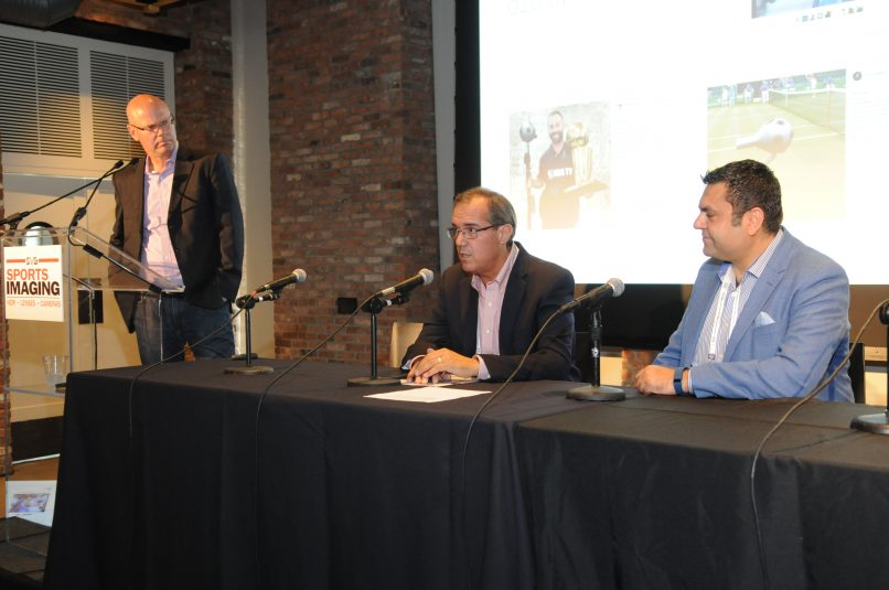 Ivanhoe's Glenn Adamo (center) speaks as Nokia's Tarif Sayed (right) and SVG's Ken Kerschbaumer look on.
