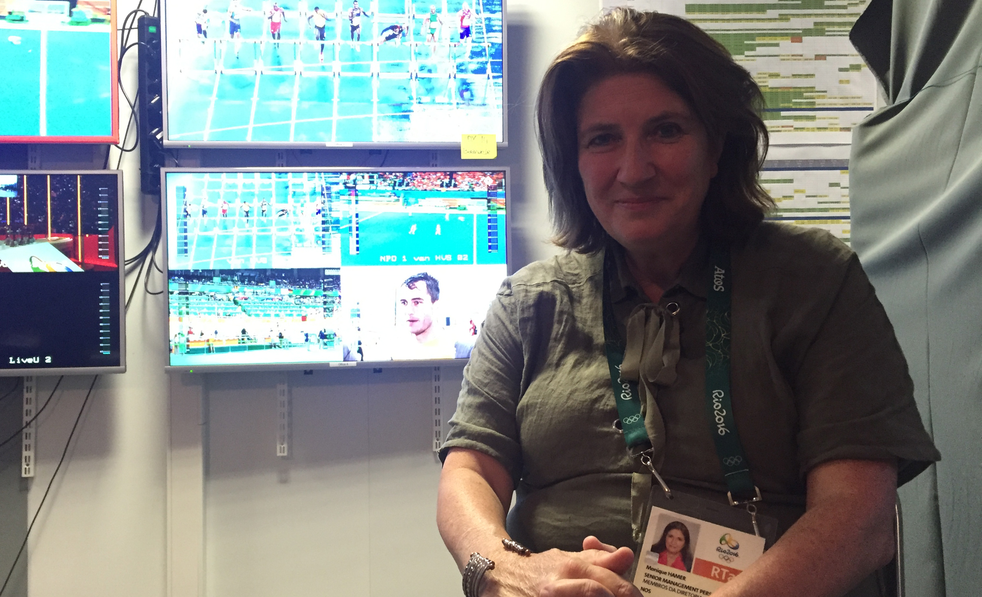 Monique Hamer, executive producer for Dutch broadcaster NOS in the network's center at the IBC in Rio.
