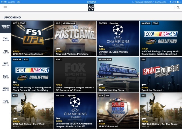 Fox Sports Go display of offerings
