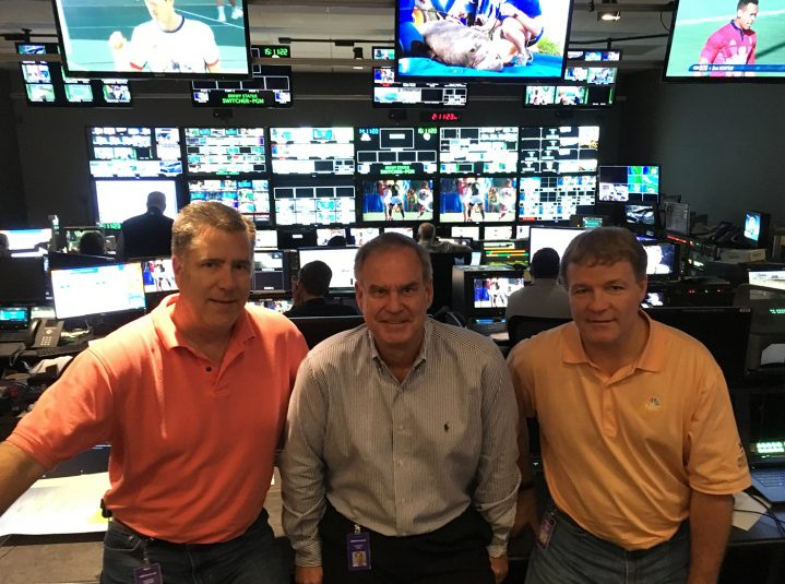 NBC Olympics' (from left) Tim Canary, Ken Goss, and Tom Popple inside NBCSN's PC4
