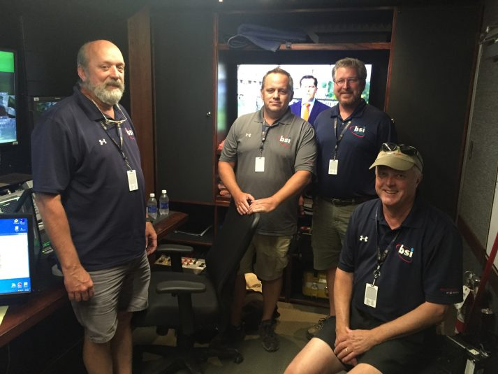 From left: the BSI team of Earl Freeman, Hunter Daus, Bob Weeks, and Peter Larsson supported the robust RF operation.