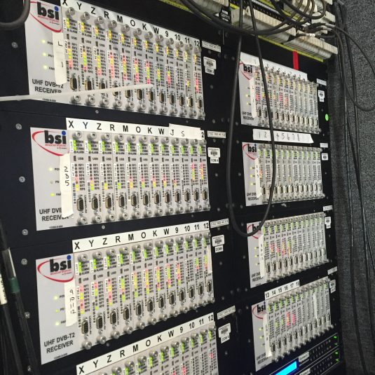 Multiple receive sites deployed throughout the course were fibered to this switching system in one of three BSI trucks in the TV-production compound.