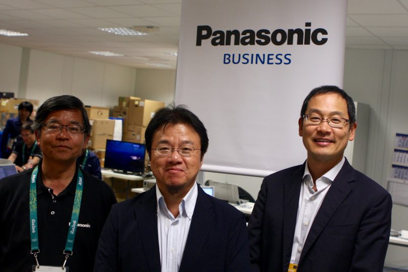 (left-to-right) Panasonic INB Division's Koji Yamamoto, Kunihiko Miyagi, and Kiyoshi Tsumagari are on hand at the Rio Olympics where Panasonic has more than 100 P2 cameras and decks in use by OBS.