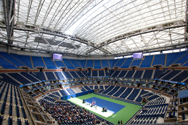 The new retractable roof over Arthur Ashe Stadium at the USTA Billie Jean King National Tennis Center.