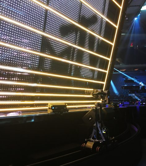 A camera mounted on a rail helped cover the VMA stage.