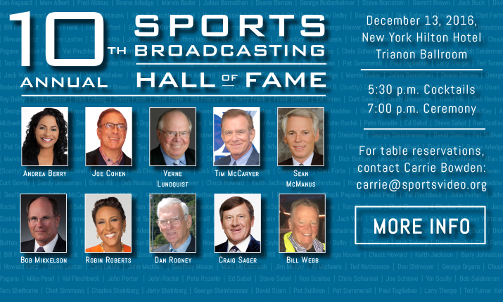 Sports Broadcasting Hall of Fame Announces 2016 Class