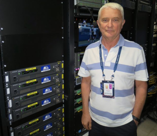 Gearhouse Broadcast COO Kevin Moorhouse inside the technical area at the US Open