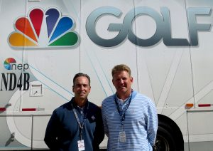 Kevin Rabbitt, NEP CEO (left) and Mike Werteen, NEP U.S. Mobile Units co-president, at the Ryder Cup where 21 NEP trailers are in use.