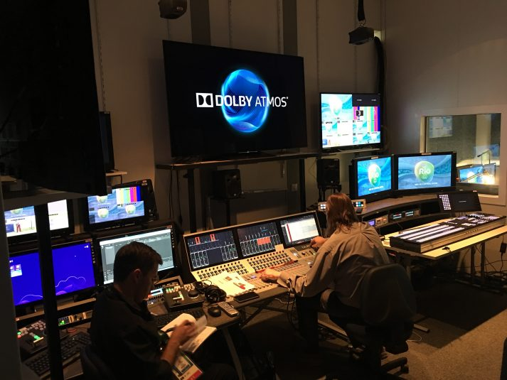 A1 Jayson Polansky mixing the Rio 2016 Opening Ceremony audio using Dolby's Atmos system.