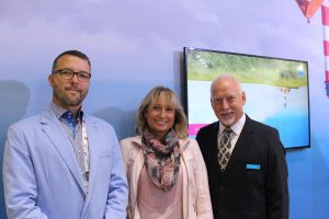 From left to right: Jaroslaw Kierkowski, Director of L P Systems; Agnieszka Pyrich, Owner of L P Systems; and Charles Rowden, Sales Director Europe, Lawo