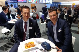 EVS' Nicolas Bourdon (left) and Sebastien Verlaine on the booth at IBC2016