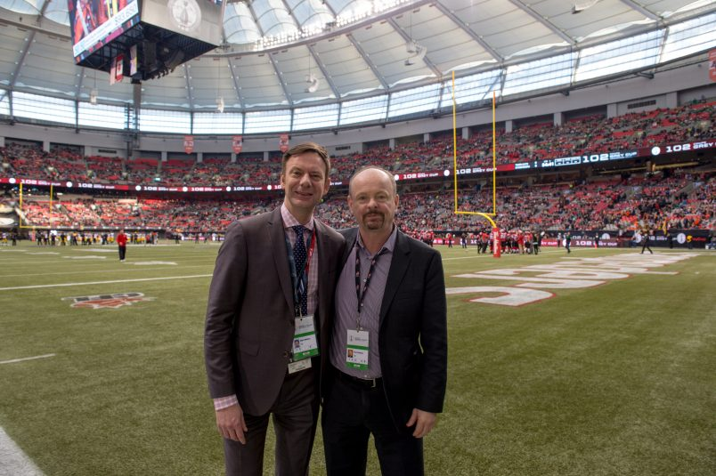 Paul Graham (right) with Mark Milliere, senior VP, production, TSN, at the 2014 Grey Cup