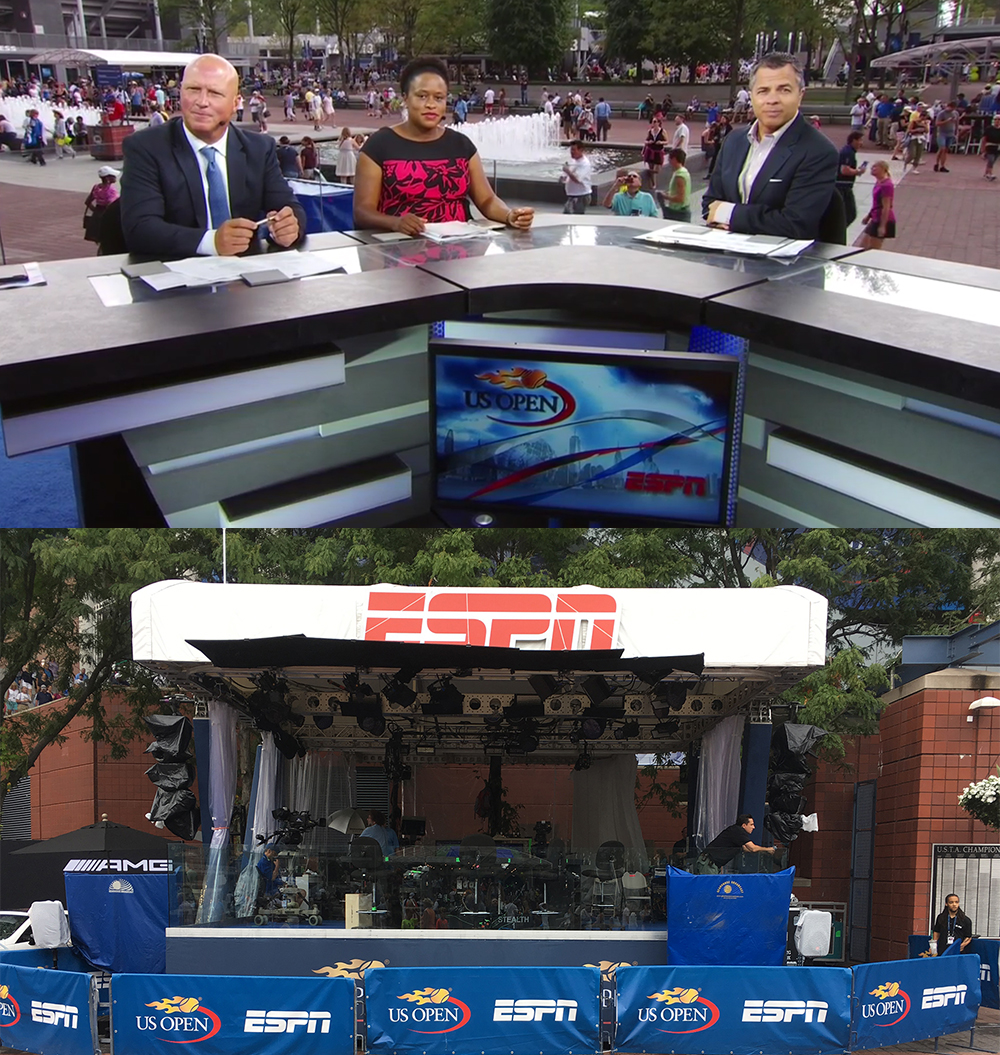 Top: ESPN's main set in action at Fountain PlazaBottom: exterior of ESPN's main set
