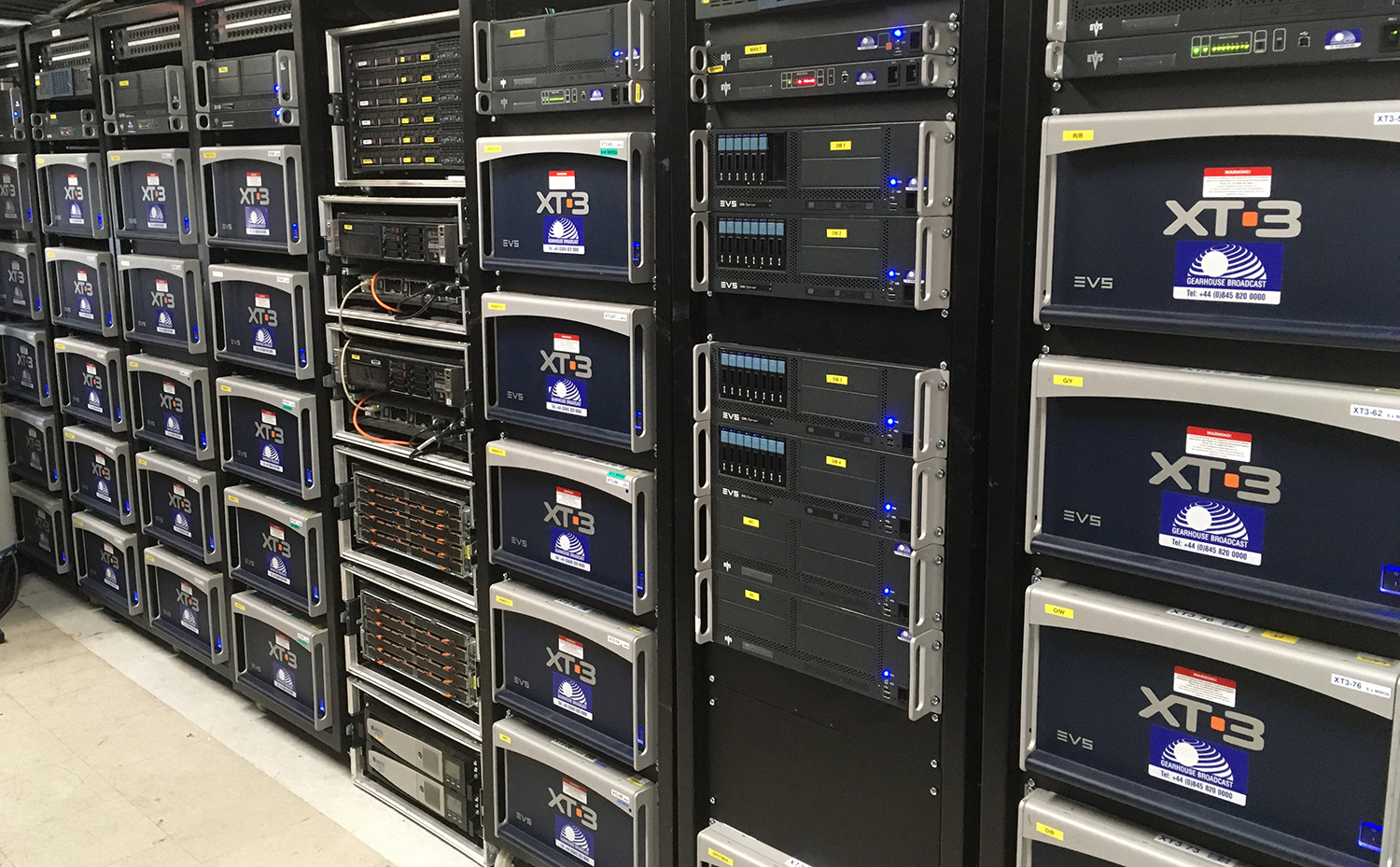 32 EVS XT3 servers housed inside the Central Apparatus Room
