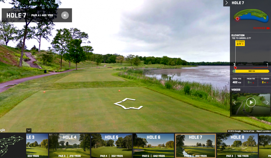 Users can navigate a hole of the course much as they would on Google Street View.