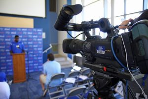 Middle Tennessee State University Athletic Communications is using JVC GY-HM850 ProHD cameras to provide live streaming coverage of its post-game press conferences.