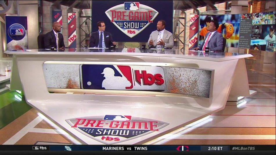 Turner Sports' (from left) Jimmy Rollins, Casey Stern, Gary Sheffield, and Pedro Martine in new Studio F