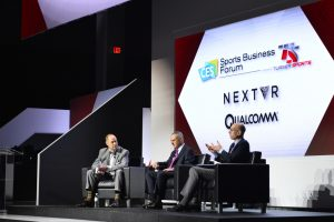 Last year's Sports Business Innovation Showcase featured (l to r) Ernie Johnson, Sports Emmy Award-winning host, Turner Sports; Robert Manfred, Jr., Baseball Commissioner; and Adam Silver, NBA Commissioner.