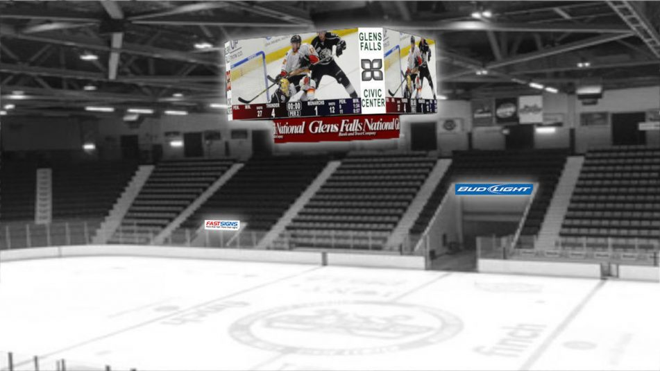 Glens Falls Civic Center, shown in a rendering, gets a 5-mm-pixel-pitch video display in a $2 million upgrade.
