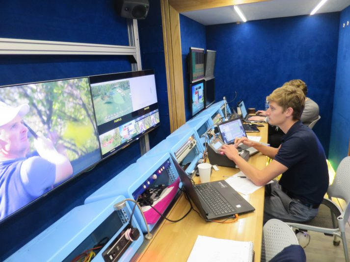 Telegenic's T5 unit is used at the Ryder Cup for commentary, as a green room, and for Hego control of the studio touchscreen monitor.