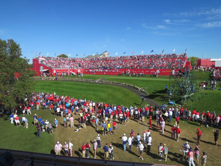 The Sky Sports studio at the Ryder Cup had a great view of the first tee.