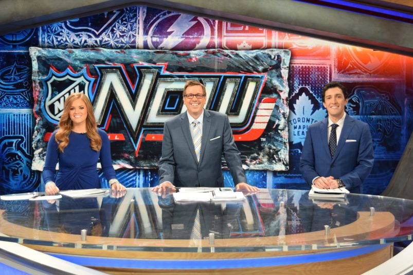 The NHL Now team inside The Rink: (from left) Michelle McMahon, E.J. Hradek, and Steve Mears