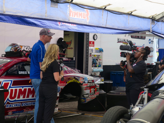 NHRA race coverage is complemented by plenty of interviews from the pit area.