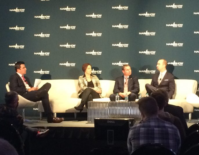 Moderated by Fox 5's Steve Lucy (far left), a panel comprising (from left on couch) Macy's Amy Kule, Madison Square Garden's Ron Skotarczak, and Brooklyn Sports & Entertainment's Fred Mangione discussed putting on a live show at NAB Show New York.