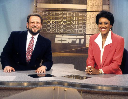 Roberts at the SportsCenter anchor deck, with Charley Steiner