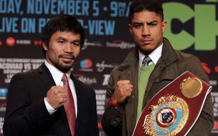 Manny Pacquiao (left) and Jessie Vargas will fight Saturday night on PPV telecast produced by Top Rank.