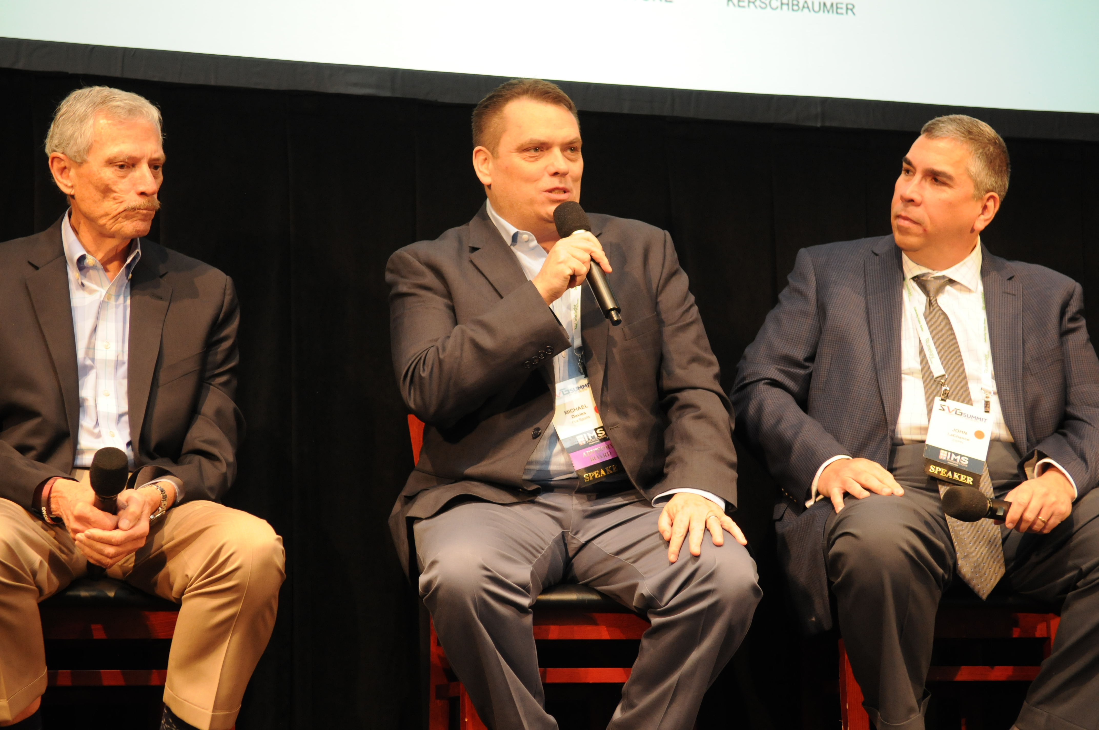 Fox Sports' Michael Davies (center) speaks at the 2016 SVG Summit.