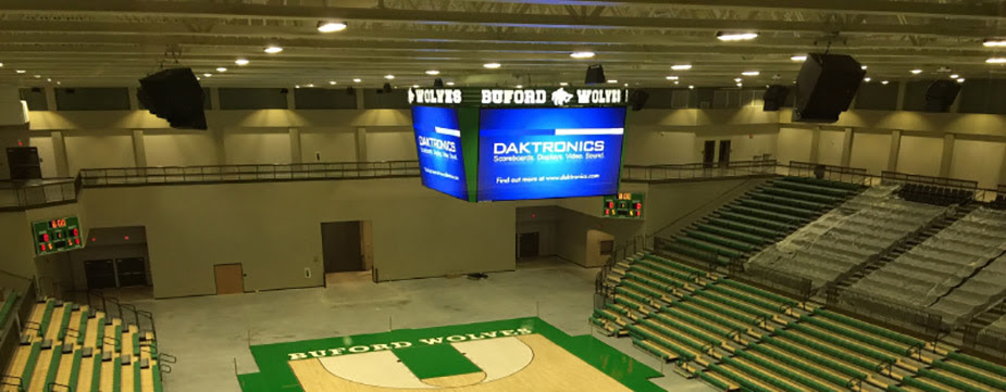 Daktronics Takes High School Video Boards to New Heights With Buford City School Gym Centerhung ...