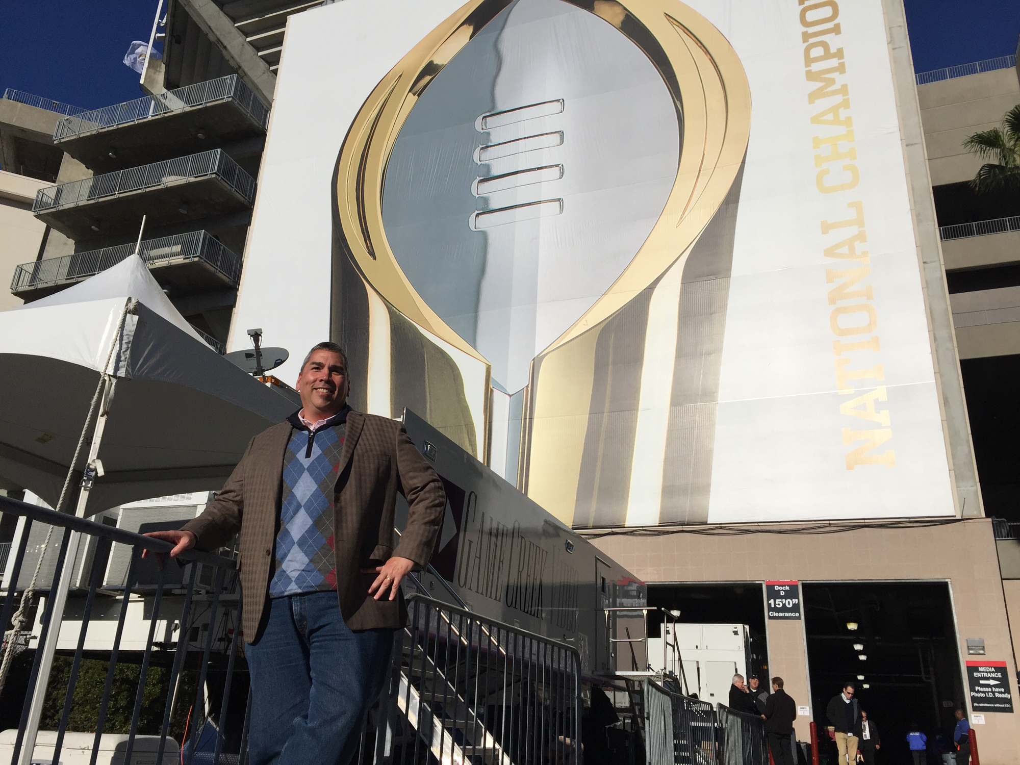 John LaChance, who heads up Remote Production Operations at the College Football Playoff Championship Game for ESPN, in the compound outside Raymond James Stadium.