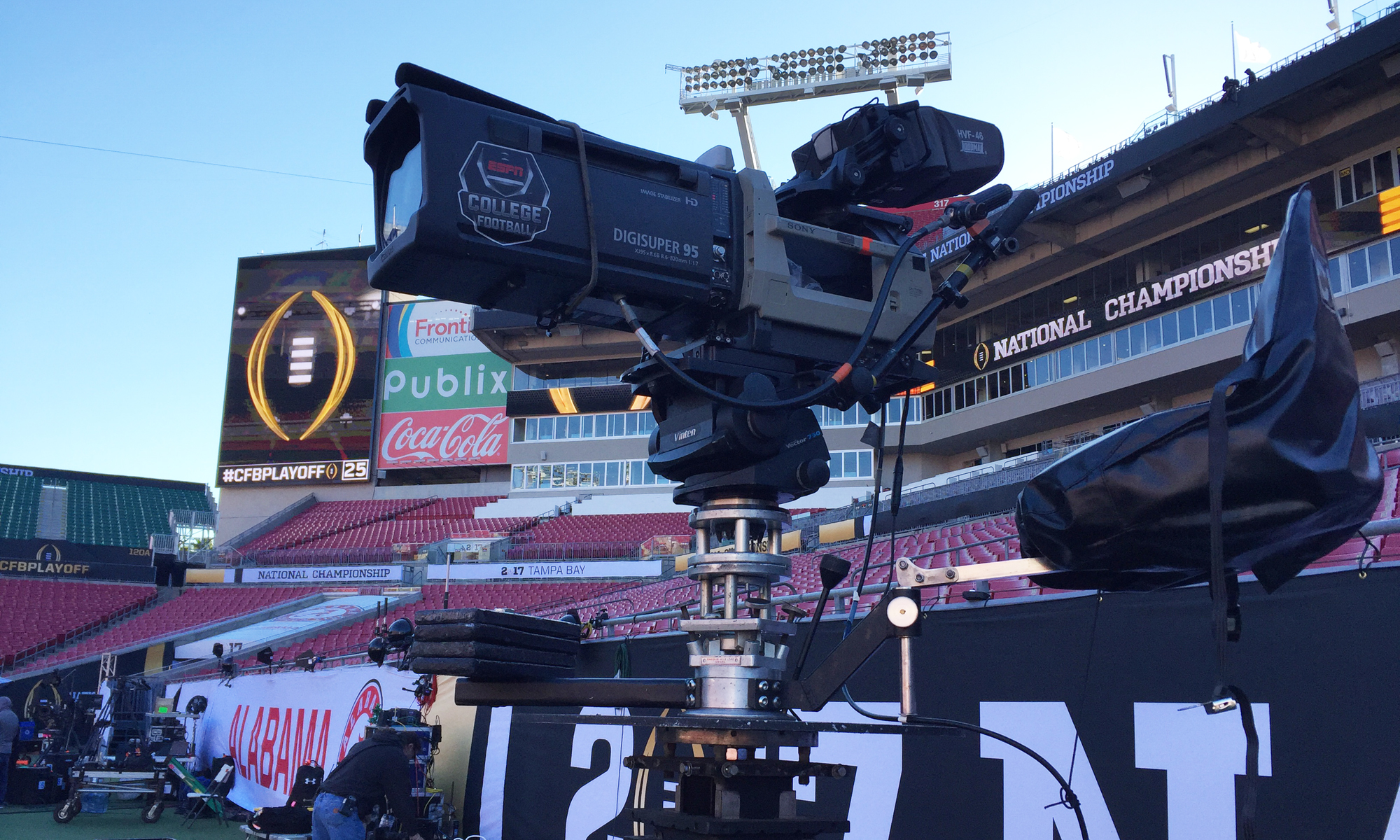 ESPN has affixed Canon's DIGISUPER 95 telephoto lens to the main sideline cart camera during Monday's CFP National Championship Game.