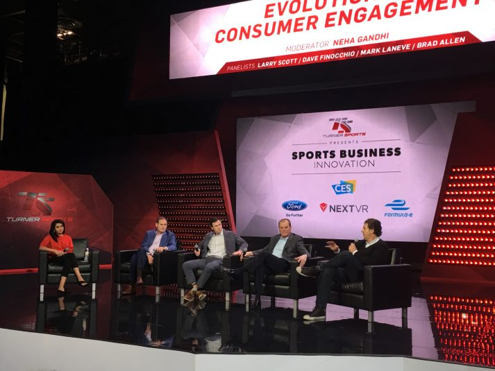 From left: Larry Scott of the Pac-12, Dave Finocchio of Bleacher Report, Mark Laneve of Ford Motor, and Brad Allen of NextVR discussed the future of fan engagement at CES last week.