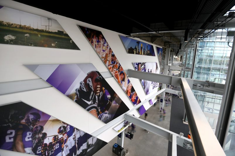 Artwork greets fans at the entrance and elsewhere around U.S. Bank Stadium.
